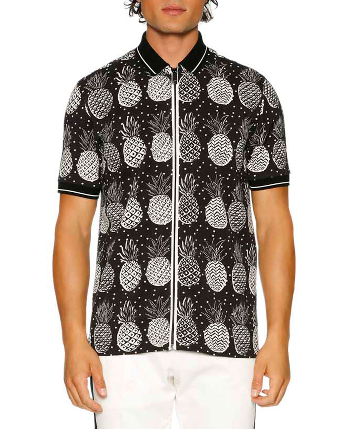 Dolce Gabbana Pineapple Full Zip Polo Shirt Black White Neiman