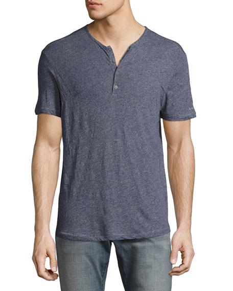 John Varvatos Star USA Short-Sleeve M??lange Henley, Indigo