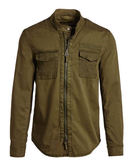 John Varvatos Star USA Garment-Dyed Military Shirt Jacket, Olive Green