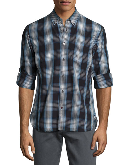 John Varvatos Star USA Garment-Wash Check Sport Shirt,