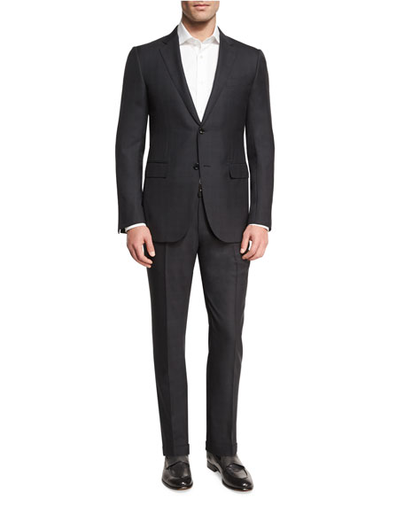 Ermenegildo Zegna Check Two-Piece Suit, Dark Gray
