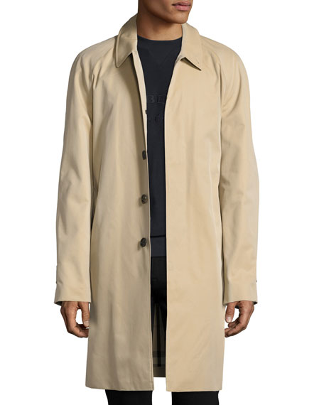 Burberry Oakham Gabardine Single-Breasted Car Coat, Honey (Beige)