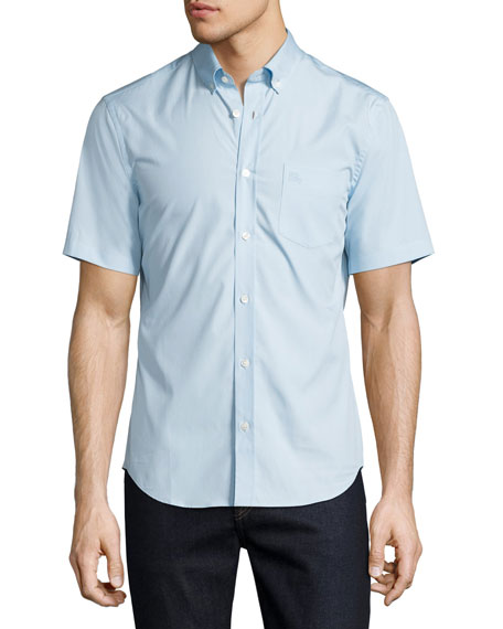 Burberry Cambridge Short-Sleeve Stretch-Cotton Shirt, Light Blue