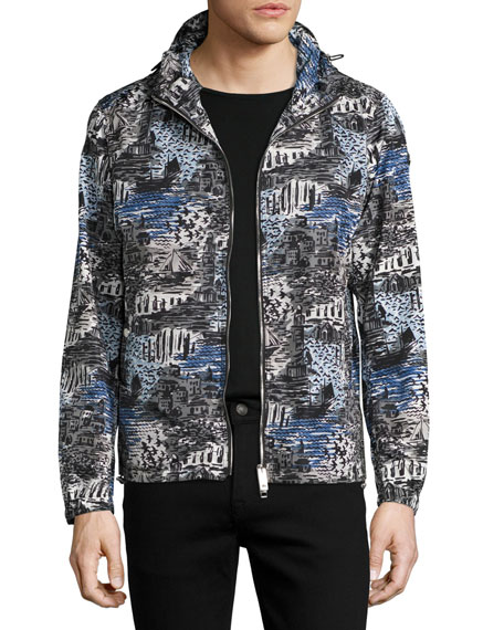 Burberry British Seaside Coastal-Print Hooded Technical Jacket,