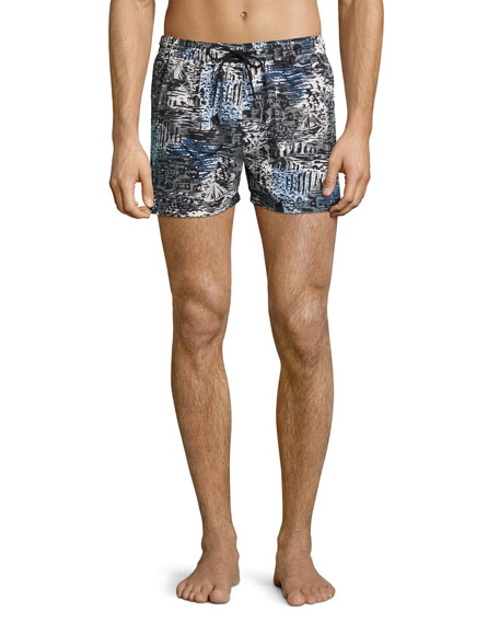 Burberry British Seaside Coastal-Print Swim Trunks, Steel Blue