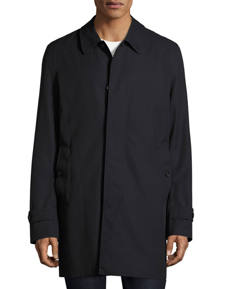 Gabardine Single-Breasted Rain Coat, Navy