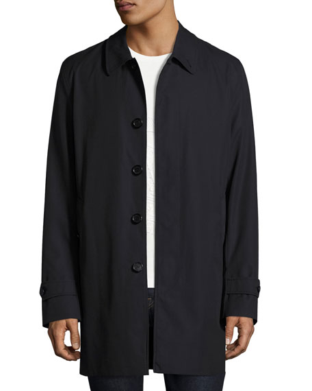 Burberry Gabardine Single-Breasted Rain Coat, Navy