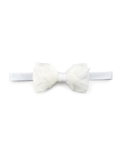 Carew Goose Feather Formal Bow Tie, White