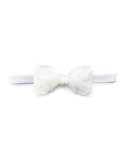 Carew Goose Feather Formal Bow Tie, White