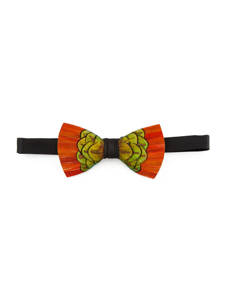 Brackish Bowties Cameron Feather Bow Tie, Orange