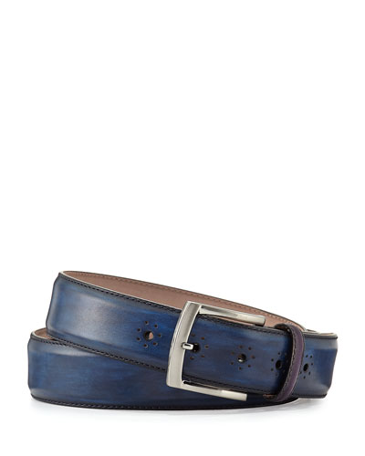 h designer belt 3dyo  Perforated Calf Leather Belt, Navy
