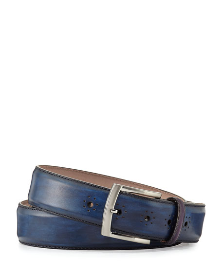 Perforated Calf Leather Belt, Navy
