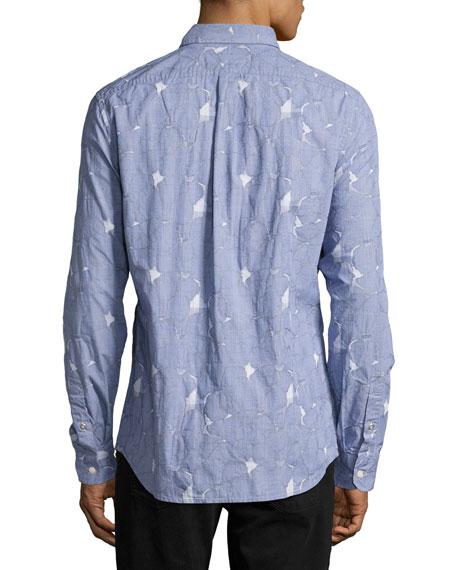Pieced Glen Plaid Sport Shirt, Blue