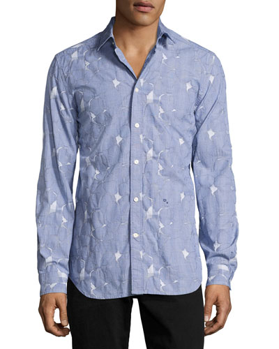 Pieced Glen Plaid Sport Shirt, Blue