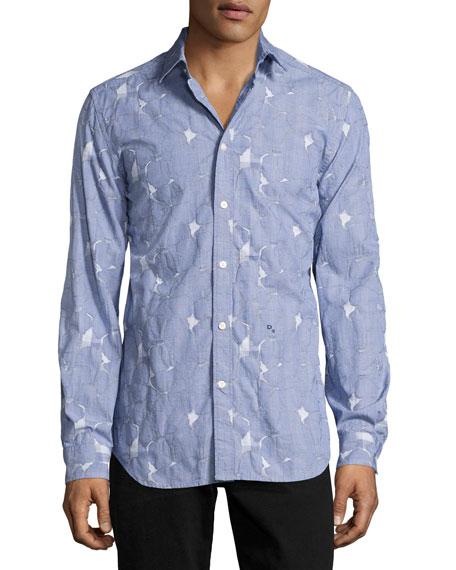 Diesel Pieced Glen Plaid Sport Shirt, Blue
