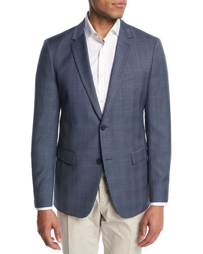 Wellar Camley Windowpane Wool Suit Jacket