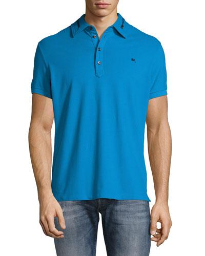 Zip-Collar Polo Shirt, Blue