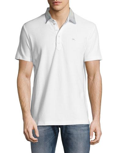 Denim-Collar Polo Shirt, White