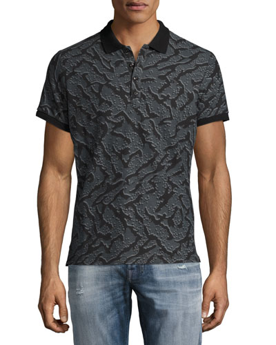 Tiger-Print Polo Shirt, Gray