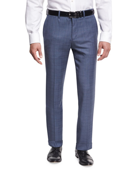 Theory Marlo U. Camley Plaid Wool Straight-Leg Suit