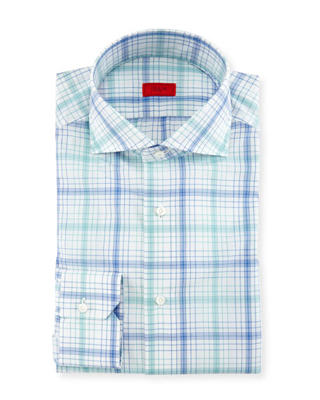 Check Dress Shirt, White/Green/Blue