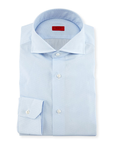 Isaia Tonal Micro-Dash Dress Shirt, Light Blue