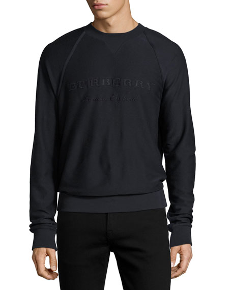 Burberry Embroidered Logo Raglan Sweatshirt, Navy