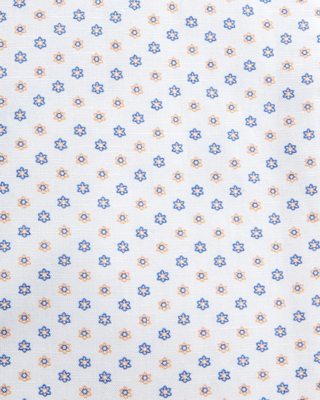 Flower-Print Dress Shirt, White/Orange/Blue