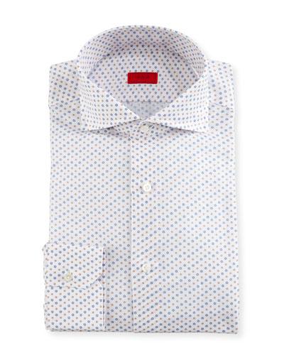 Flower-Print Dress Shirt, White/Orange/Blue