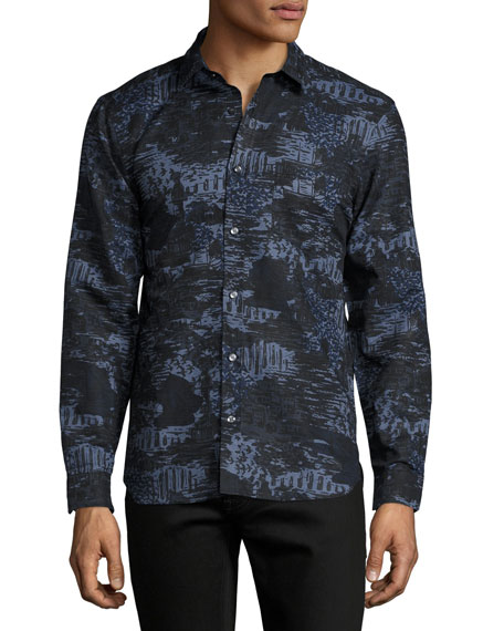 Burberry British Seaside Coastal-Print Sport Shirt, Bright Navy