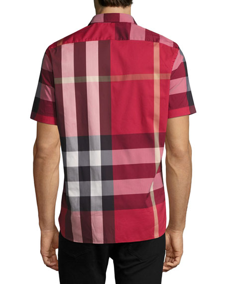 Thornaby Short-Sleeve Check Sport Shirt, Parade Red