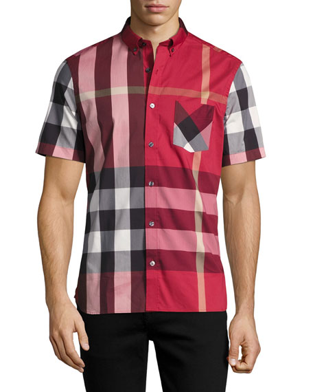 Burberry Thornaby Short-Sleeve Check Sport Shirt, Parade Red