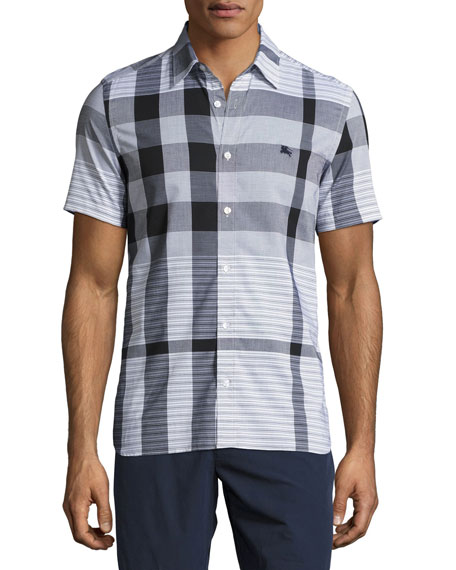 Burberry Ancroft Tonal-Check Short-Sleeve Cotton Shirt, Black