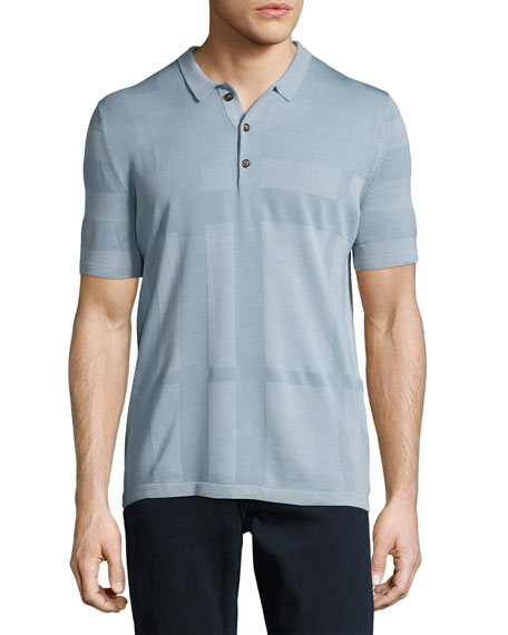 Burberry Enlarged Tonal Check Polo Shirt, Slate Blue