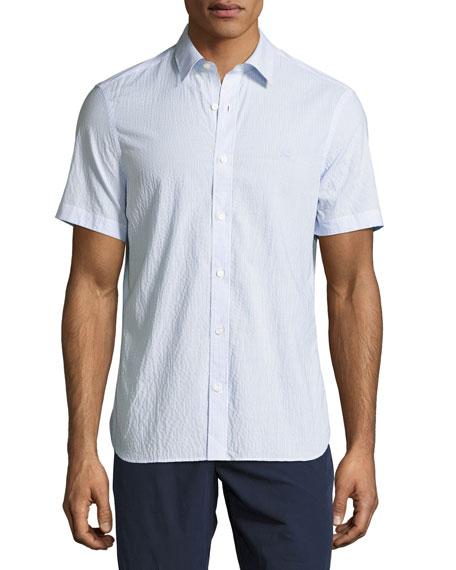 Burberry Striped Seersucker Short-Sleeve Shirt, Light Blue
