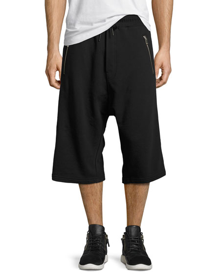 Diesel Dropped-Inseam Relaxed Sweat Shorts, Black