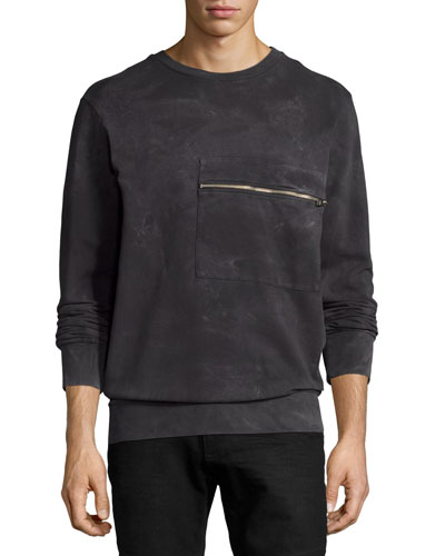 Tie-Dyed Marble Zip-Pocket Sweatshirt, Black