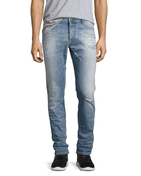 Diesel Tepphar 0857F Distressed Skinny Jeans, Light Blue
