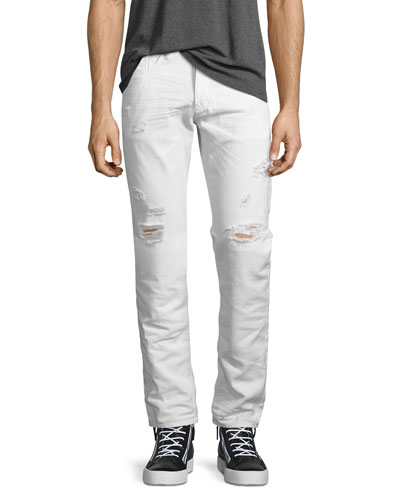 Buster 0680K Tapered Jeans with Distressing, White