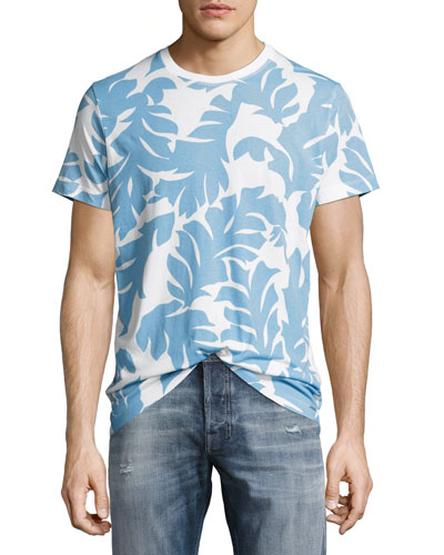 T-Diego-NN Palm Leaf T-Shirt, White/Light Blue