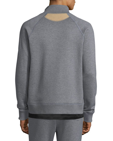 Stand-Collar Zip-Front Sweatshirt
