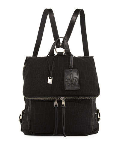 Men's Embossed Nylon Backpack, Black