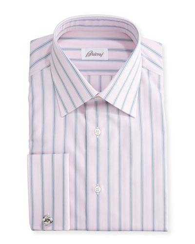 Wide-Stripe Dress Shirt, Pink/Gray