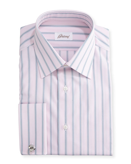 Brioni Wide-Stripe Dress Shirt, Pink/Gray
