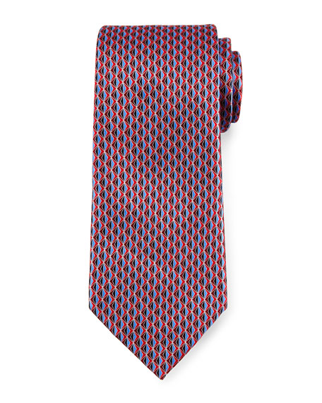 Ermenegildo Zegna 3D Diamond Neat Silk Tie, Red