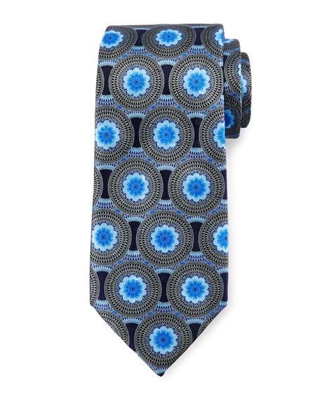 Circle Flower Medallion Tie, Blue