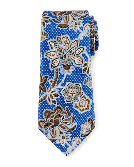 Ermenegildo Zegna Silk Satin Floral Tie, Blue