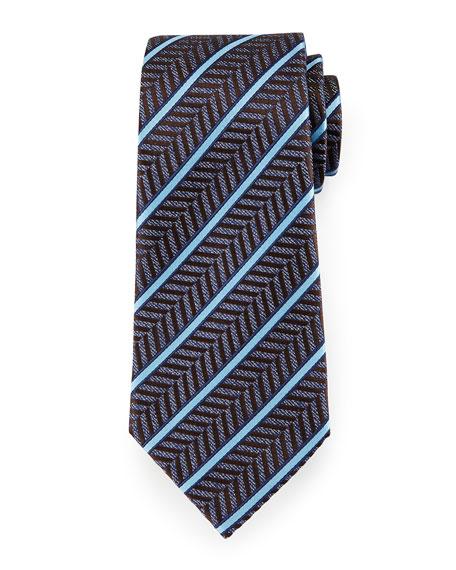 Ermenegildo Zegna Herringbone Satin-Stripe Tie, Blue