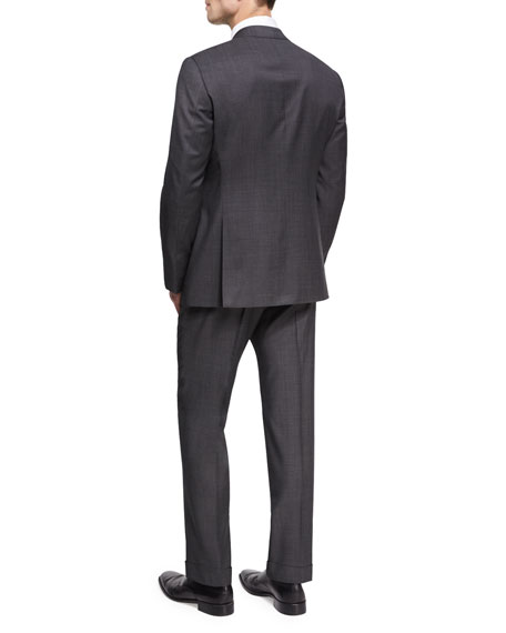 Wool Two-Piece Suit, Charcoal