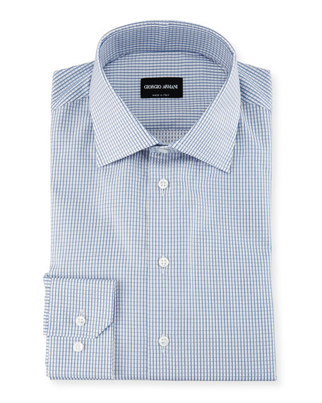 Giorgio Armani Box-Check Cotton Dress Shirt